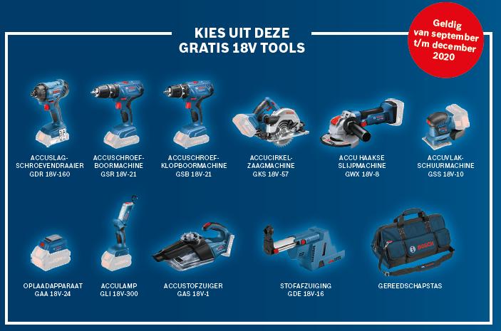 Kies je gratis 18V Tool, dit zijn de gratis 18V tools waaruit je kan kiezen